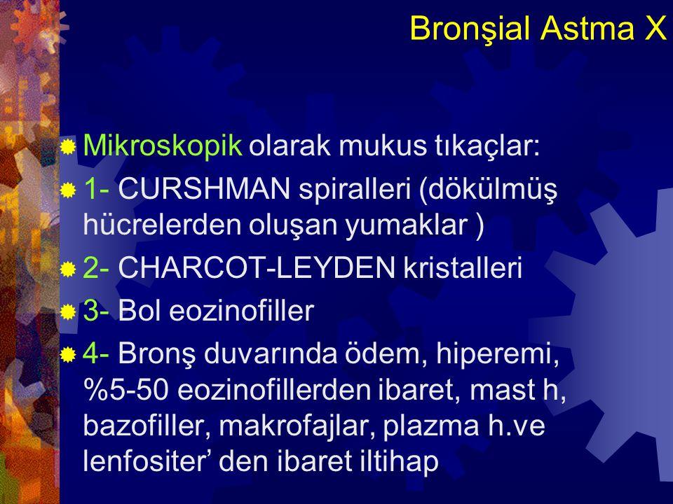 Bronşial Astma X Mikroskopik olarak mukus tıkaçlar: