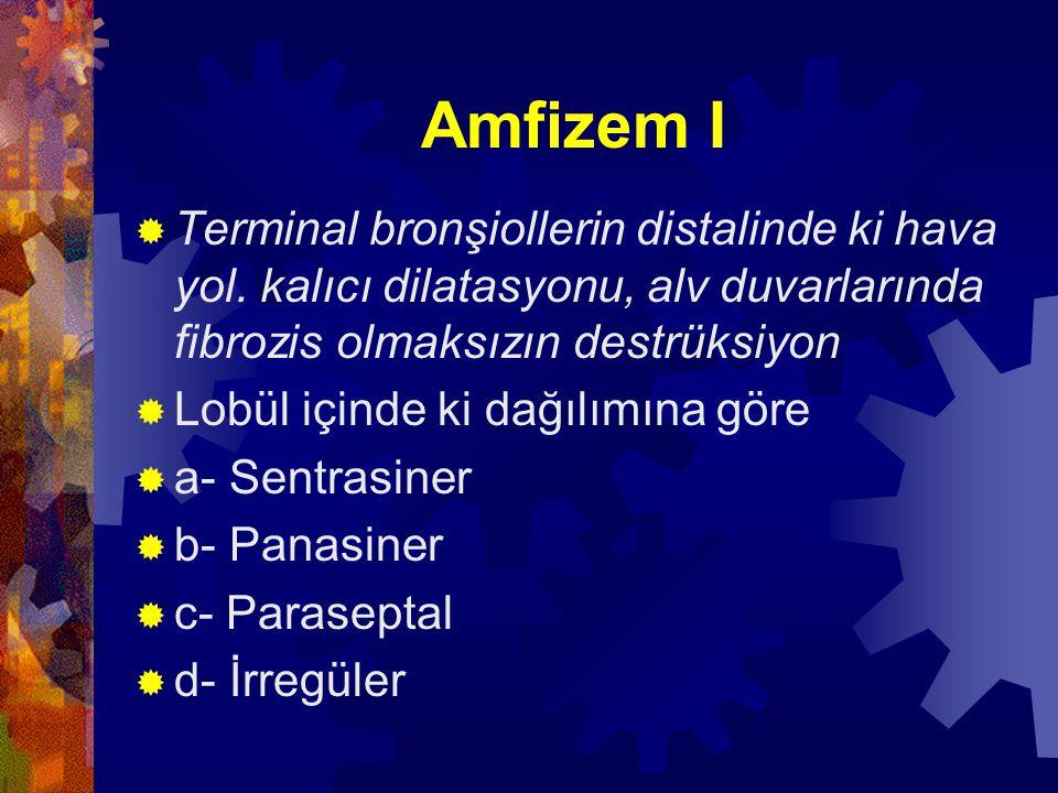 Amfizem I Terminal bronşiollerin distalinde ki hava yol. kalıcı dilatasyonu, alv duvarlarında fibrozis olmaksızın destrüksiyon.