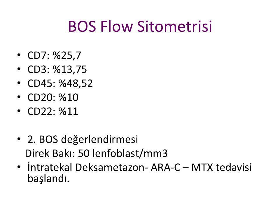 BOS Flow Sitometrisi CD7: %25,7 CD3: %13,75 CD45: %48,52 CD20: %10