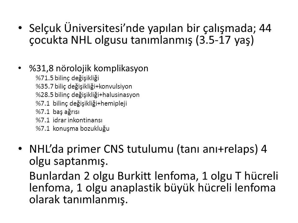 NHL'da primer CNS tutulumu (tanı anı+relaps) 4 olgu saptanmış.