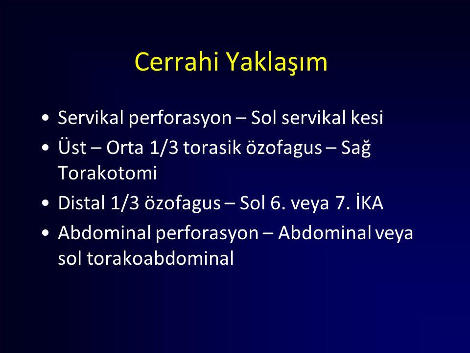 Cerrahi Yaklaşım Servikal perforasyon – Sol servikal kesi