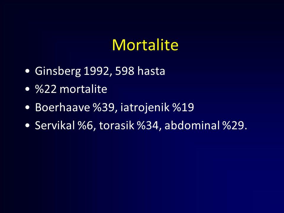 Mortalite Ginsberg 1992, 598 hasta %22 mortalite
