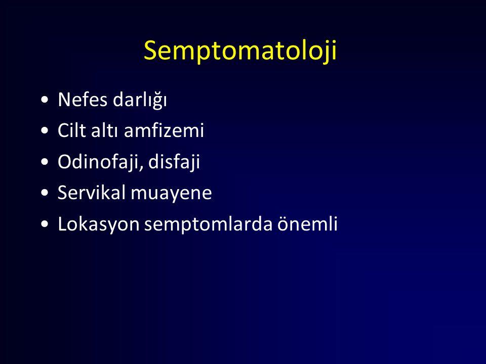 Semptomatoloji Nefes darlığı Cilt altı amfizemi Odinofaji, disfaji