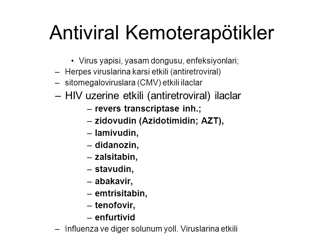 Antiviral Kemoterapötikler