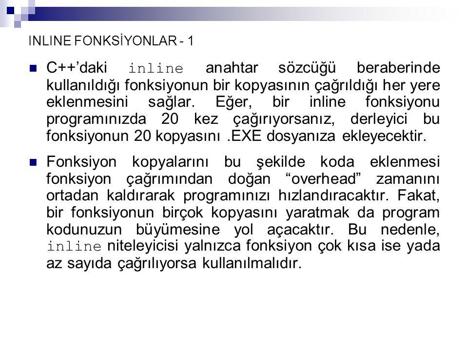 INLINE FONKSİYONLAR - 1