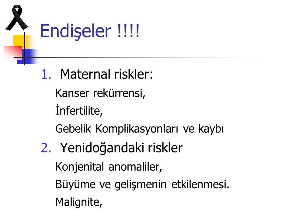 Endişeler !!!! Maternal riskler: Yenidoğandaki riskler