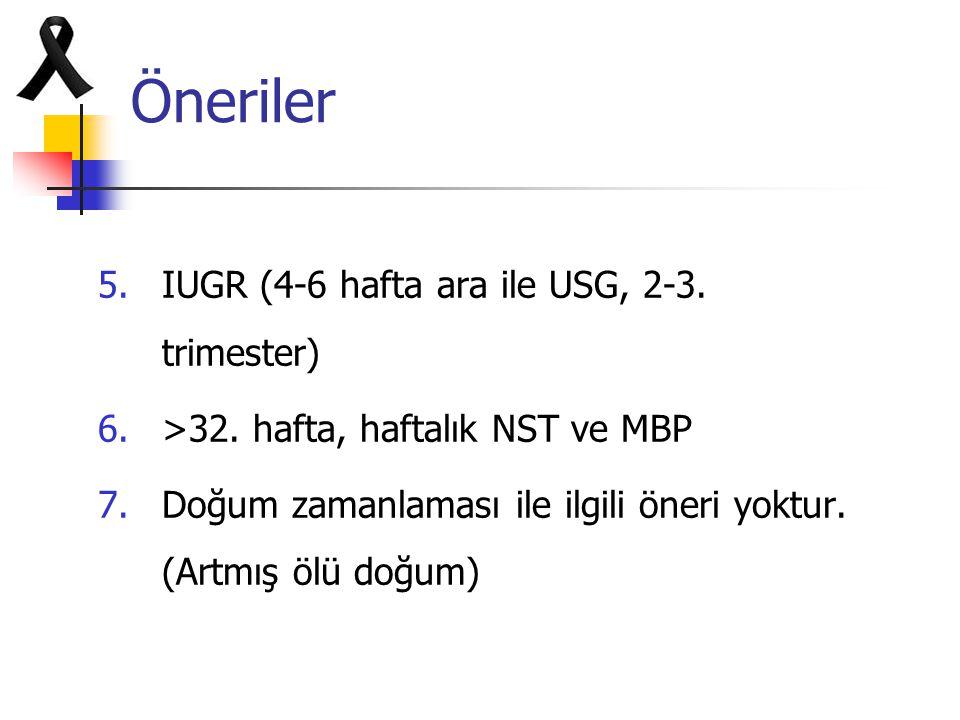 Öneriler IUGR (4-6 hafta ara ile USG, 2-3. trimester)
