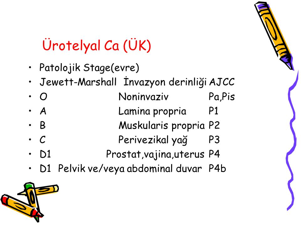 Ürotelyal Ca (ÜK) Patolojik Stage(evre)