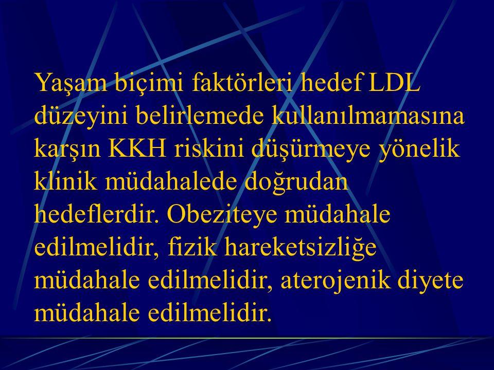 Yaşam biçimi faktörleri hedef LDL düzeyini belirlemede kullanılmamasına karşın KKH riskini düşürmeye yönelik klinik müdahalede doğrudan hedeflerdir.