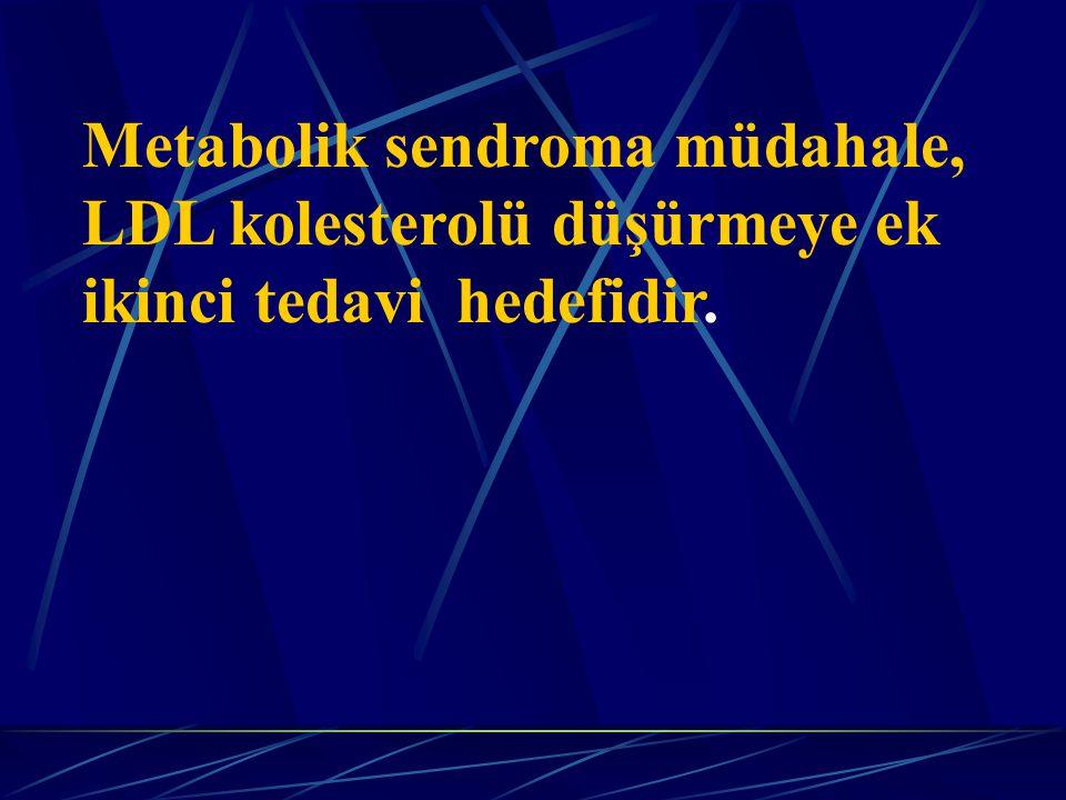 Metabolik sendroma müdahale, LDL kolesterolü düşürmeye ek ikinci tedavi hedefidir.