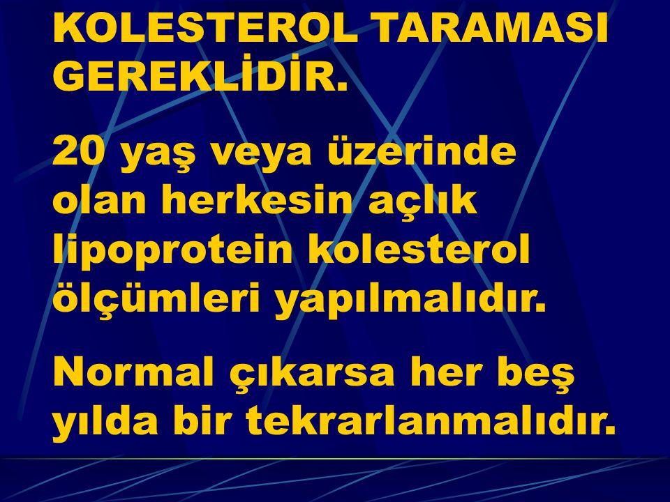 KOLESTEROL TARAMASI GEREKLİDİR.