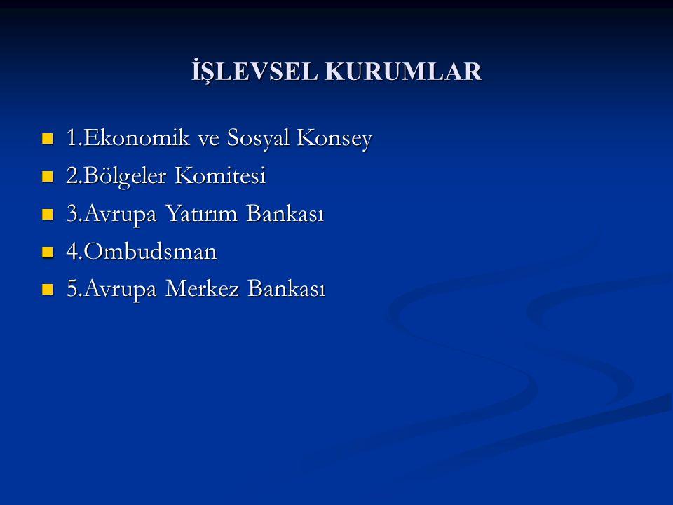 İŞLEVSEL KURUMLAR 1.Ekonomik ve Sosyal Konsey. 2.Bölgeler Komitesi. 3.Avrupa Yatırım Bankası. 4.Ombudsman.