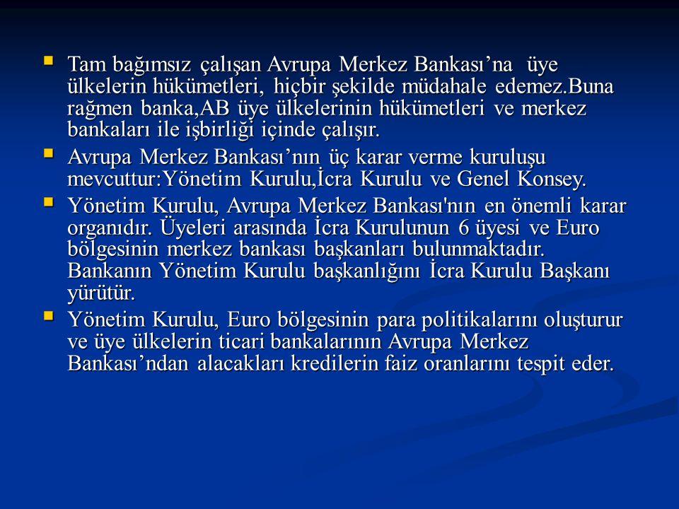 Tam bağımsız çalışan Avrupa Merkez Bankası'na üye ülkelerin hükümetleri, hiçbir şekilde müdahale edemez.Buna rağmen banka,AB üye ülkelerinin hükümetleri ve merkez bankaları ile işbirliği içinde çalışır.