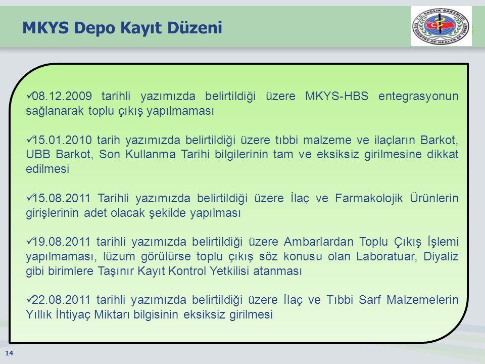 MKYS Depo Kayıt Düzeni 08.12.2009 tarihli yazımızda belirtildiği üzere MKYS-HBS entegrasyonun sağlanarak toplu çıkış yapılmaması.