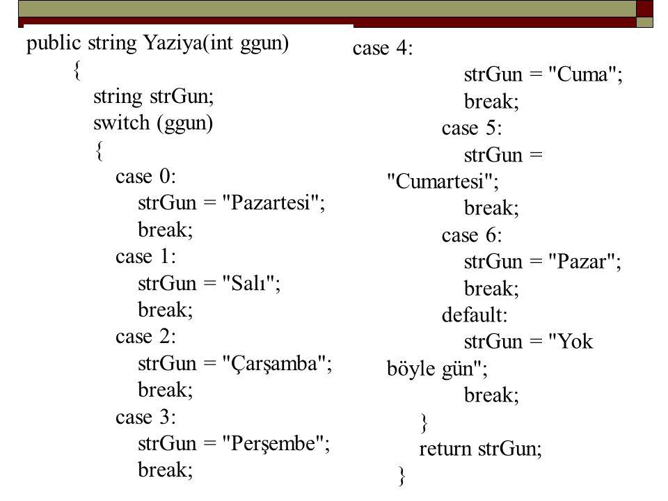 public string Yaziya(int ggun)
