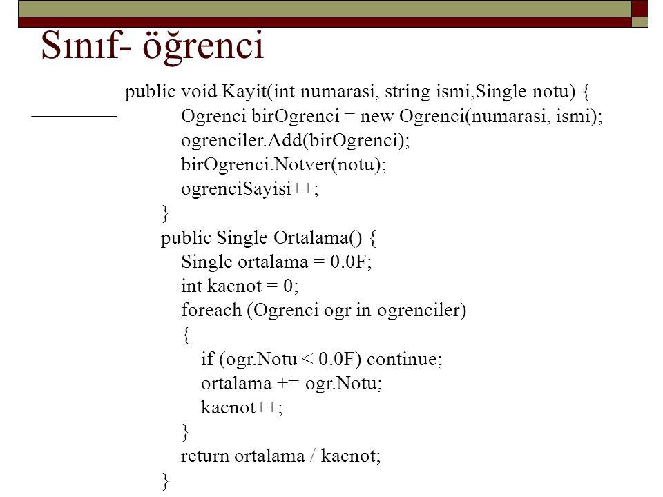 Sınıf- öğrenci public void Kayit(int numarasi, string ismi,Single notu) { Ogrenci birOgrenci = new Ogrenci(numarasi, ismi);