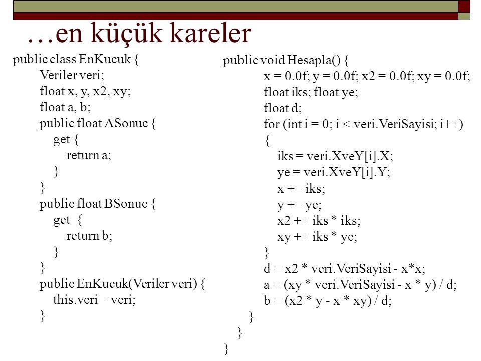 …en küçük kareler public class EnKucuk { public void Hesapla() {