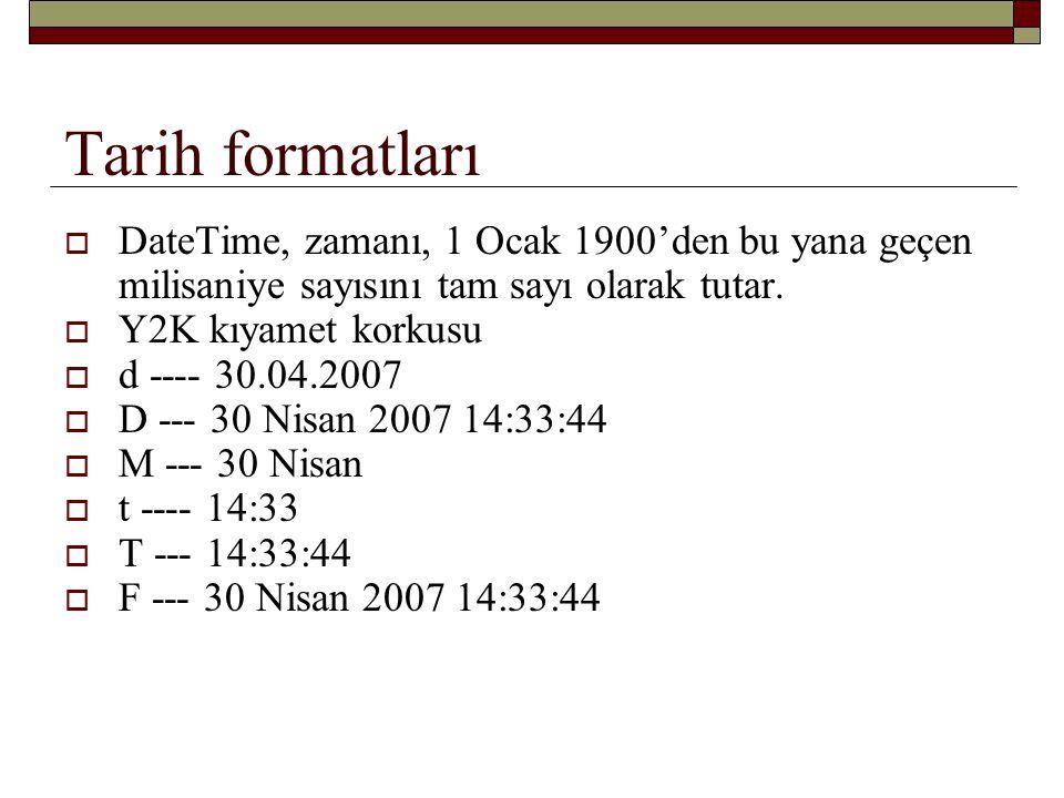 Tarih formatları DateTime, zamanı, 1 Ocak 1900'den bu yana geçen milisaniye sayısını tam sayı olarak tutar.