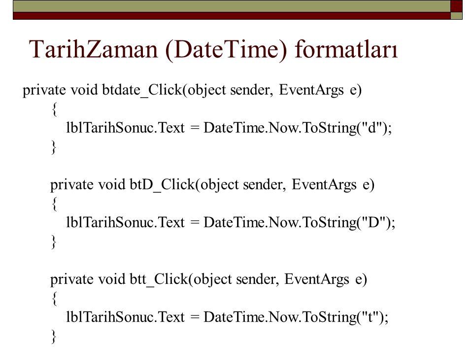 TarihZaman (DateTime) formatları
