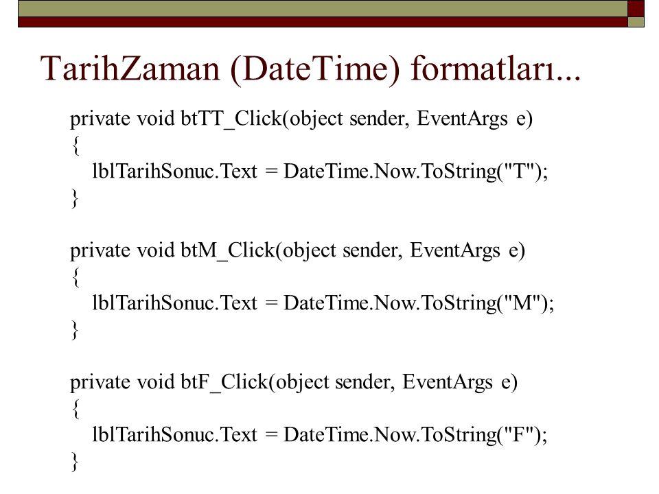 TarihZaman (DateTime) formatları...