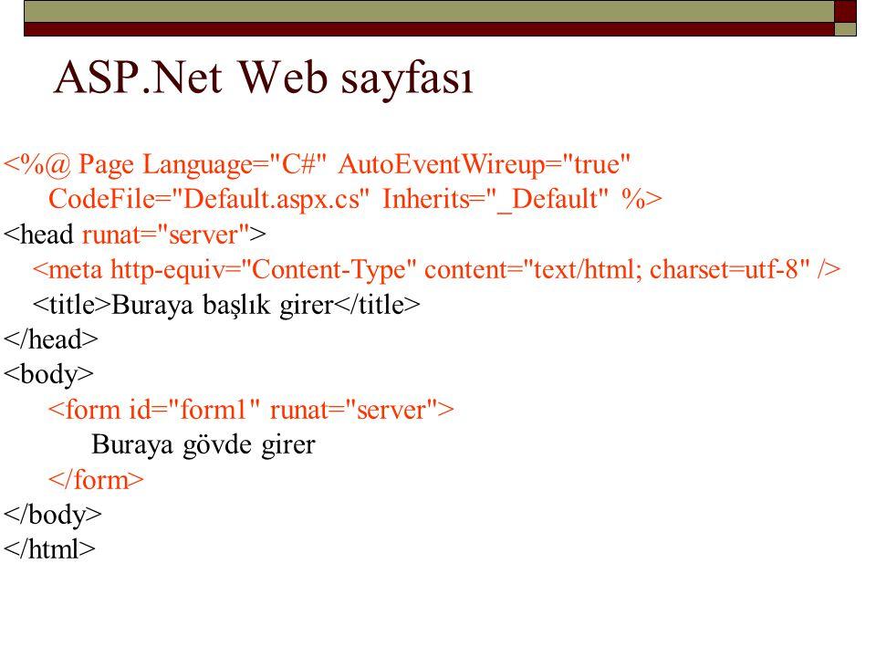 ASP.Net Web sayfası <%@ Page Language= C# AutoEventWireup= true CodeFile= Default.aspx.cs Inherits= _Default %>