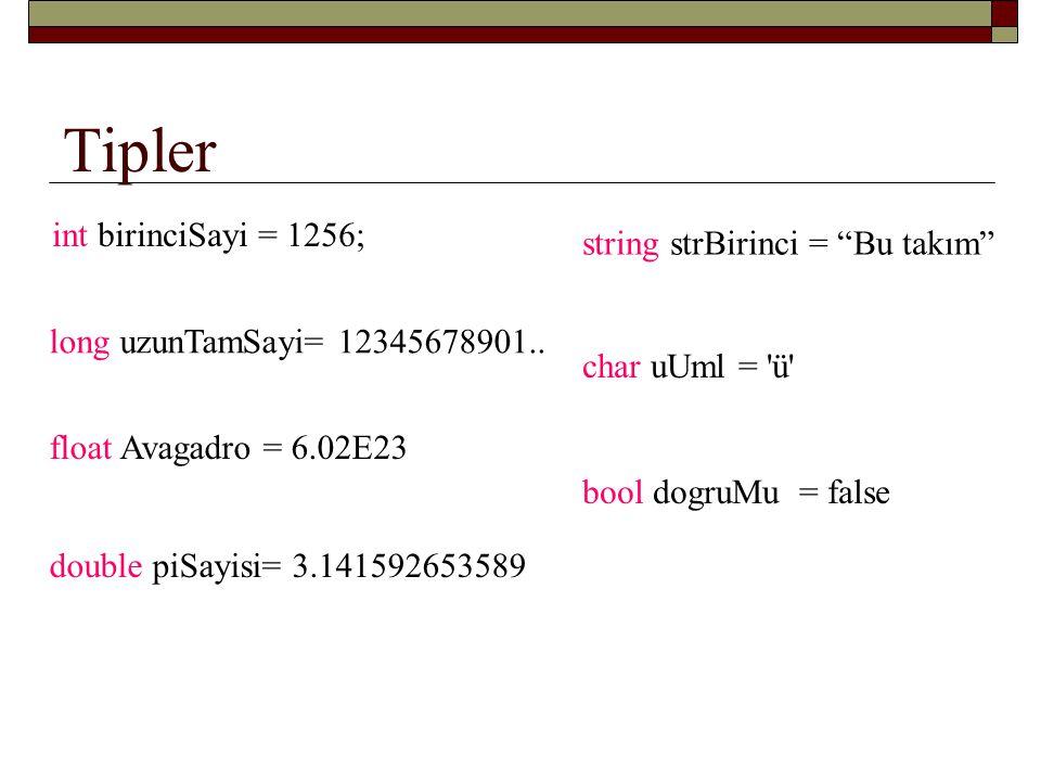 Tipler int birinciSayi = 1256; string strBirinci = Bu takım