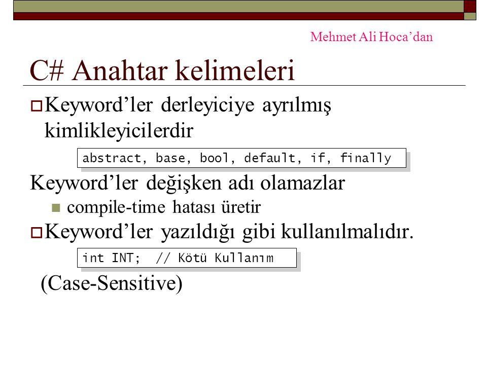 C# Anahtar kelimeleri Mehmet Ali Hoca'dan. Keyword'ler derleyiciye ayrılmış kimlikleyicilerdir. Keyword'ler değişken adı olamazlar.