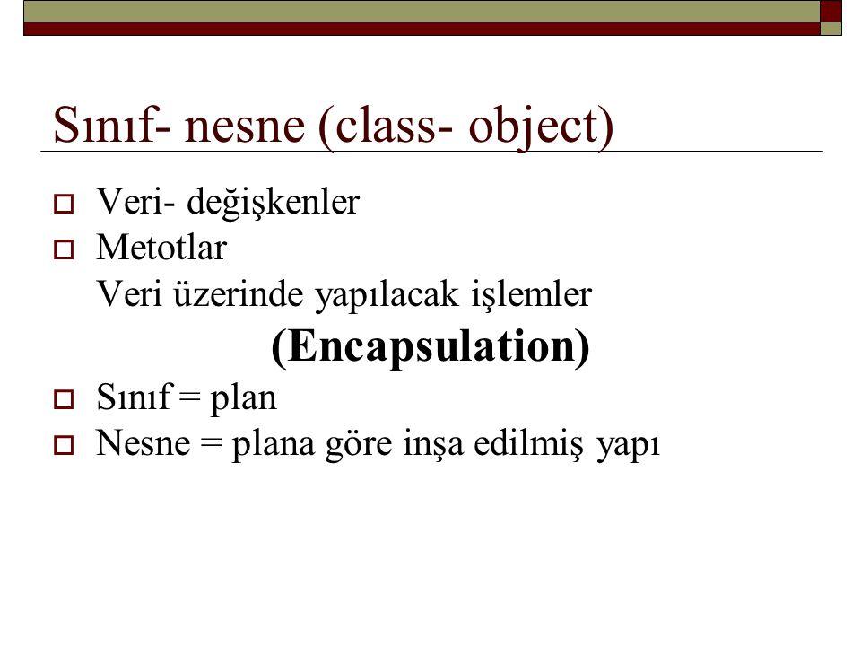 Sınıf- nesne (class- object)