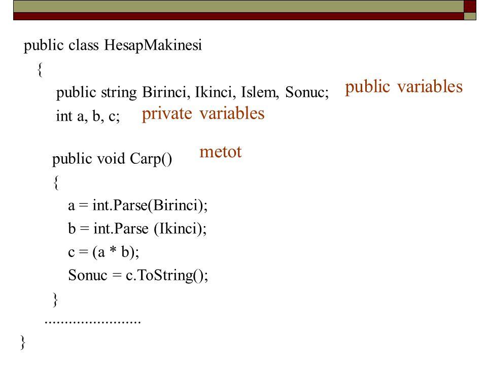 public class HesapMakinesi