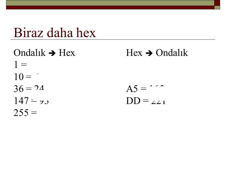 Biraz daha hex Ondalık  Hex Hex  Ondalık 1 = 1 10 = A