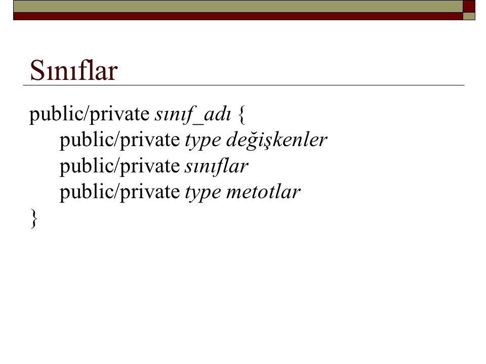 Sınıflar public/private sınıf_adı {