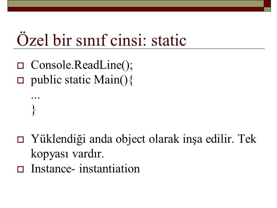 Özel bir sınıf cinsi: static