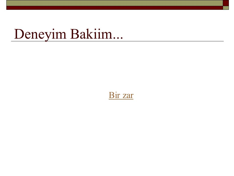 Deneyim Bakiim... Bir zar