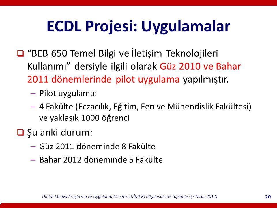 ECDL Projesi: Uygulamalar