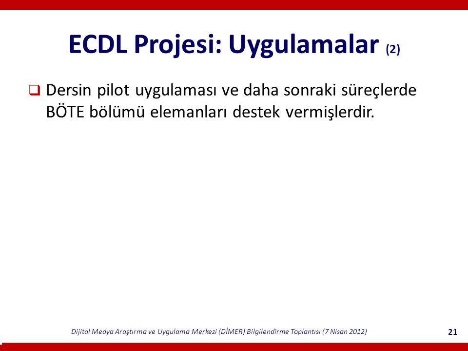 ECDL Projesi: Uygulamalar (2)