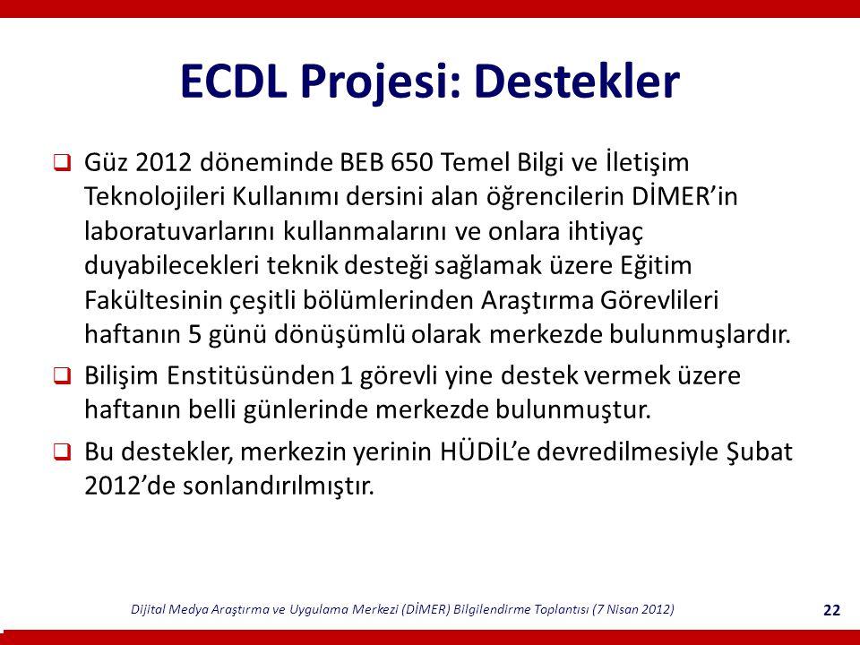 ECDL Projesi: Destekler