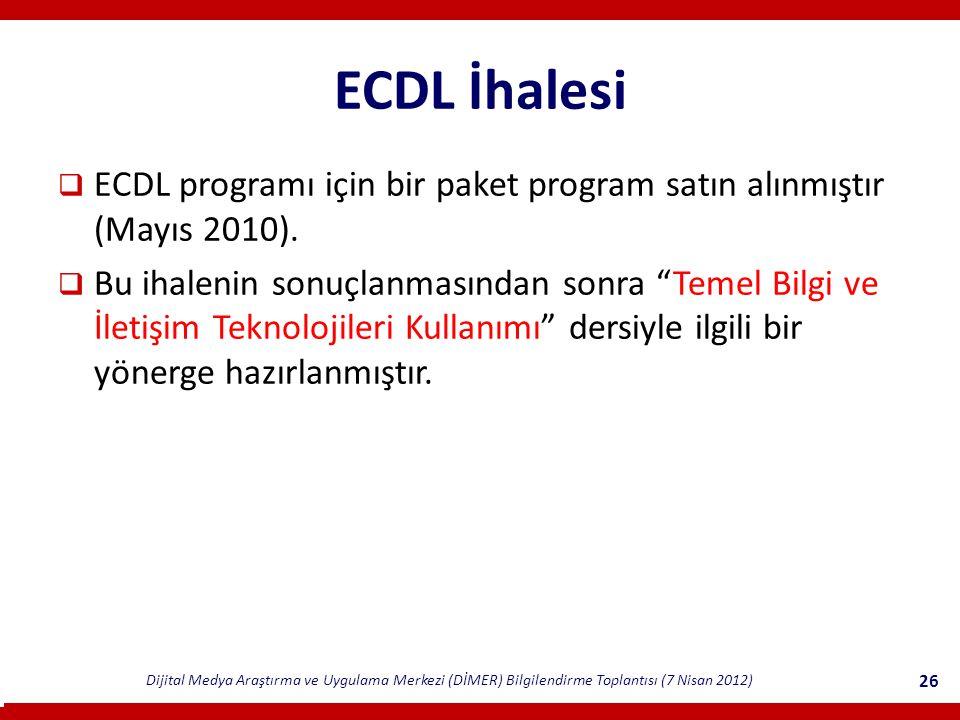 ECDL İhalesi ECDL programı için bir paket program satın alınmıştır (Mayıs 2010).