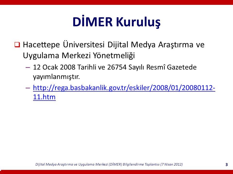 DİMER Kuruluş Hacettepe Üniversitesi Dijital Medya Araştırma ve Uygulama Merkezi Yönetmeliği.