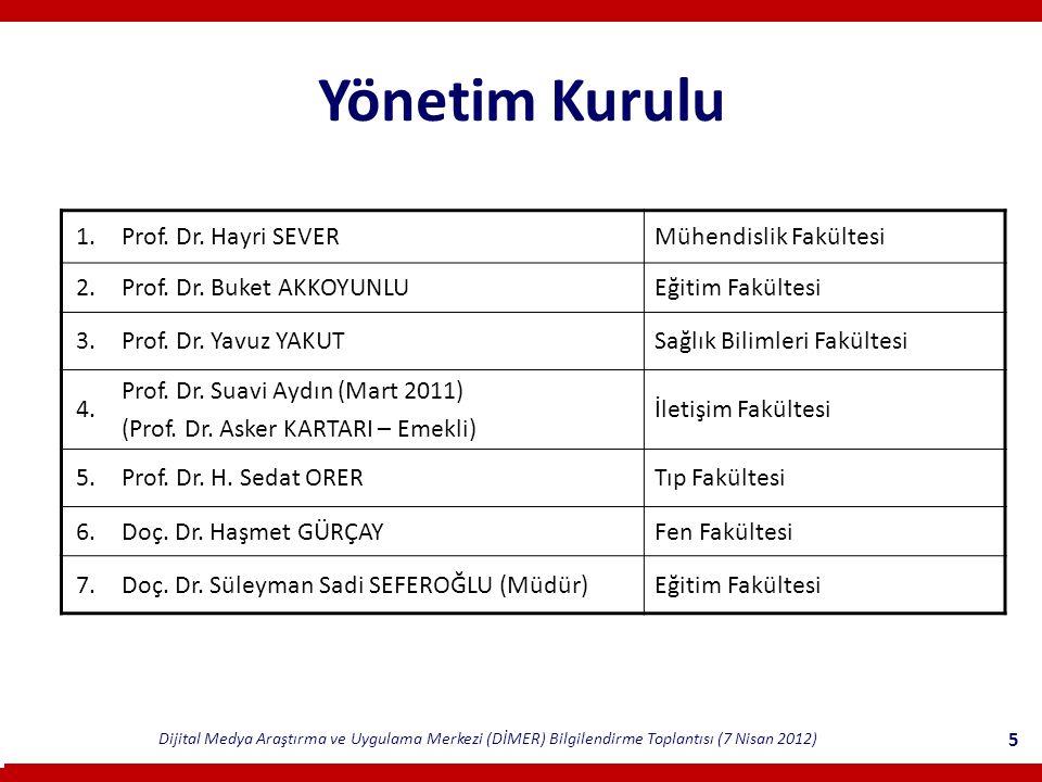Yönetim Kurulu 1. Prof. Dr. Hayri SEVER Mühendislik Fakültesi 2.