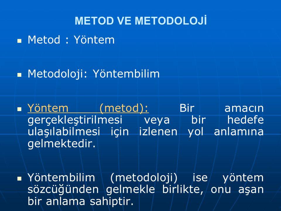 METOD VE METODOLOJİ Metod : Yöntem. Metodoloji: Yöntembilim.