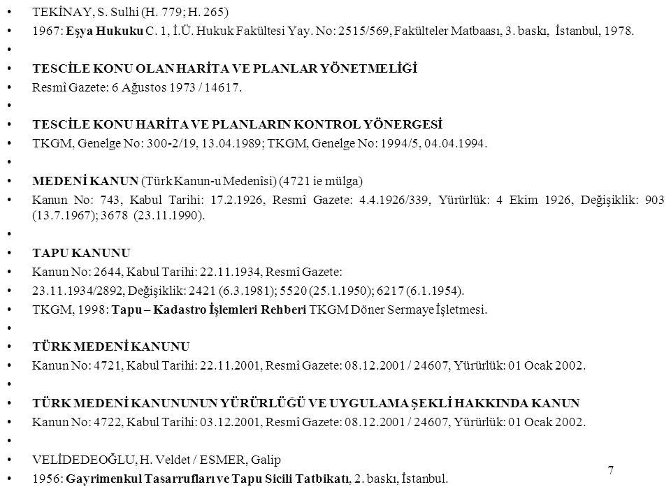 TEKİNAY, S. Sulhi (H. 779; H. 265) 1967: Eşya Hukuku C. 1, İ.Ü. Hukuk Fakültesi Yay. No: 2515/569, Fakülteler Matbaası, 3. baskı, İstanbul, 1978.