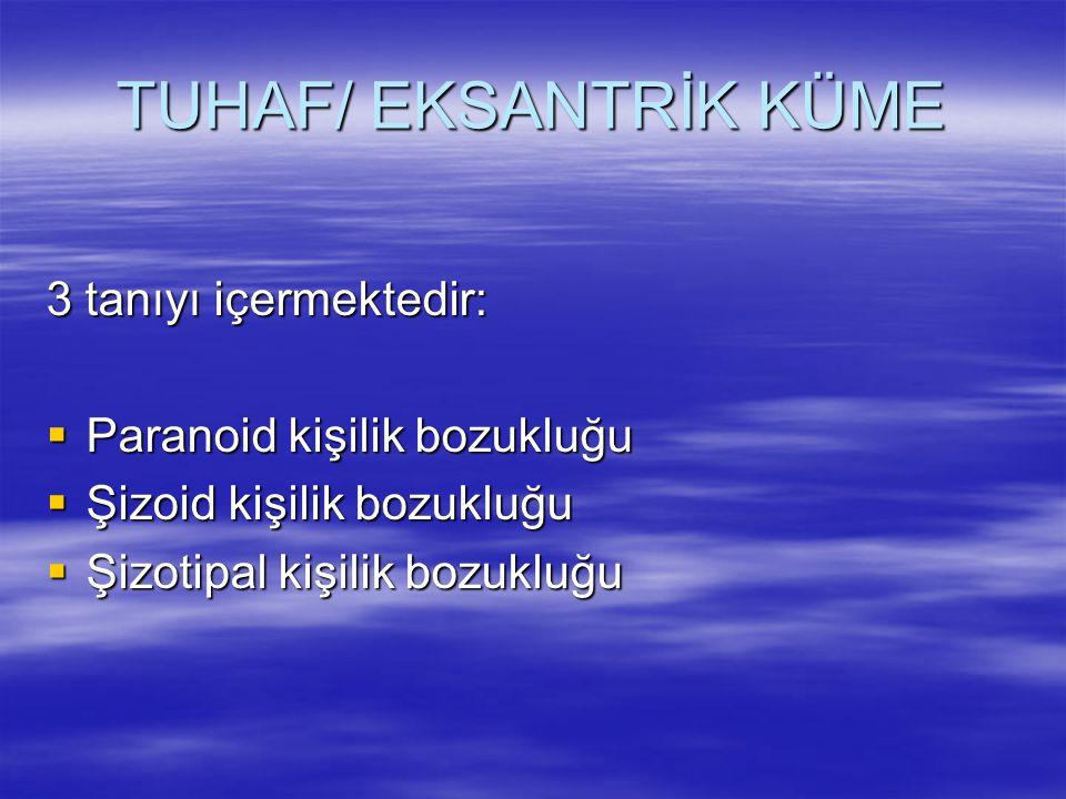 TUHAF/ EKSANTRİK KÜME 3 tanıyı içermektedir: