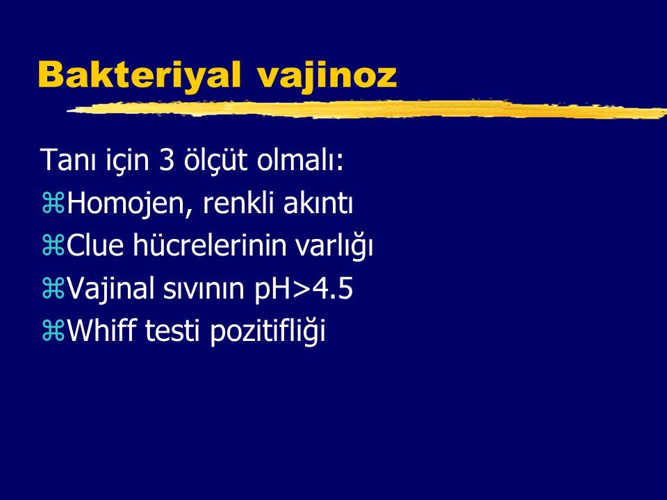 Bakteriyal vajinoz Tanı için 3 ölçüt olmalı: Homojen, renkli akıntı