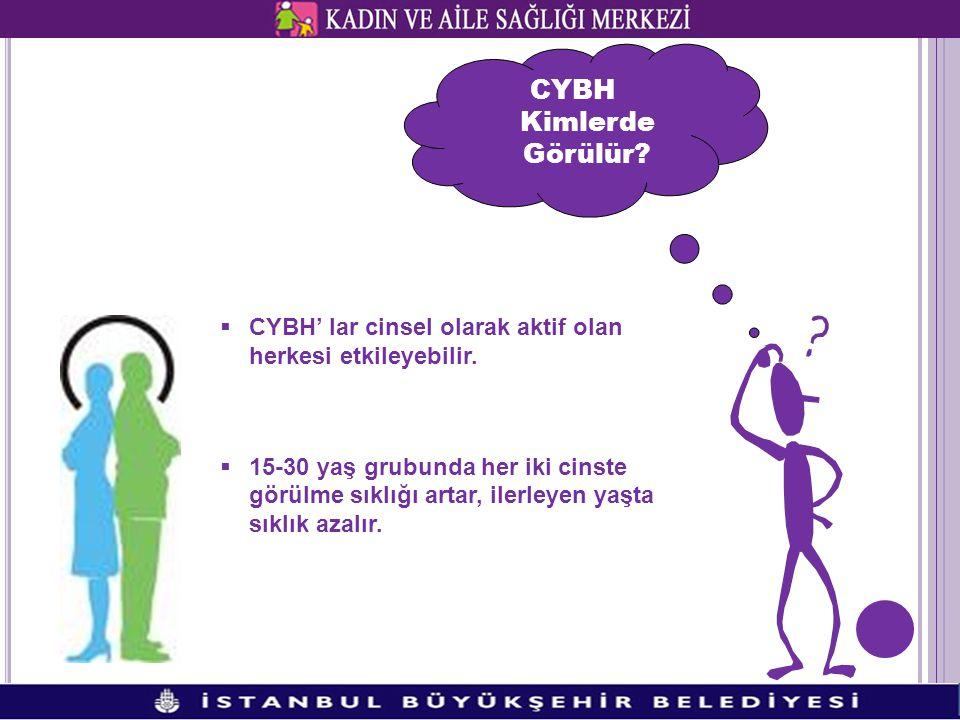 CYBH Kimlerde Görülür CYBH' lar cinsel olarak aktif olan herkesi etkileyebilir.