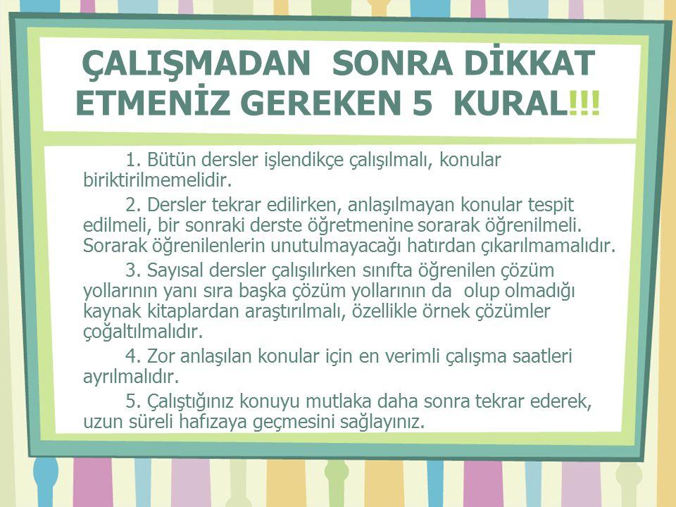 ÇALIŞMADAN SONRA DİKKAT ETMENİZ GEREKEN 5 KURAL!!!