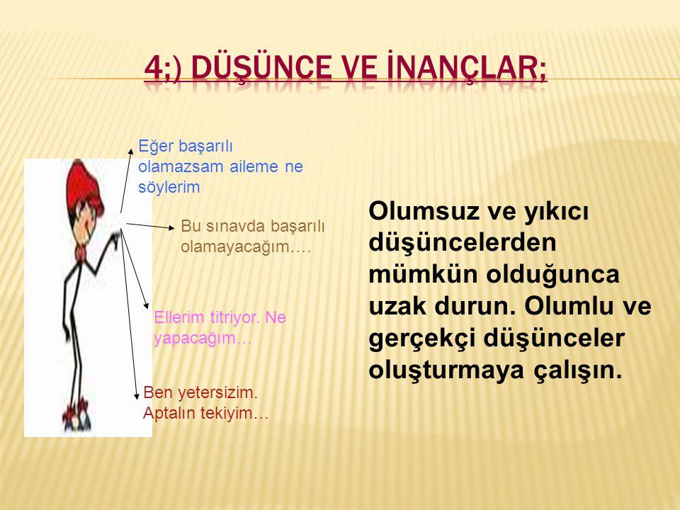 4;) Düşünce ve İnançlar;