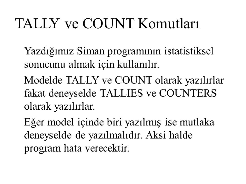 TALLY ve COUNT Komutları
