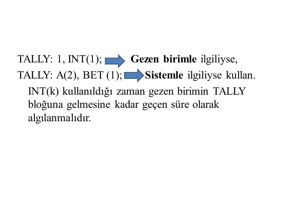 TALLY: 1, INT(1); Gezen birimle ilgiliyse, TALLY: A(2), BET (1); Sistemle ilgiliyse kullan.