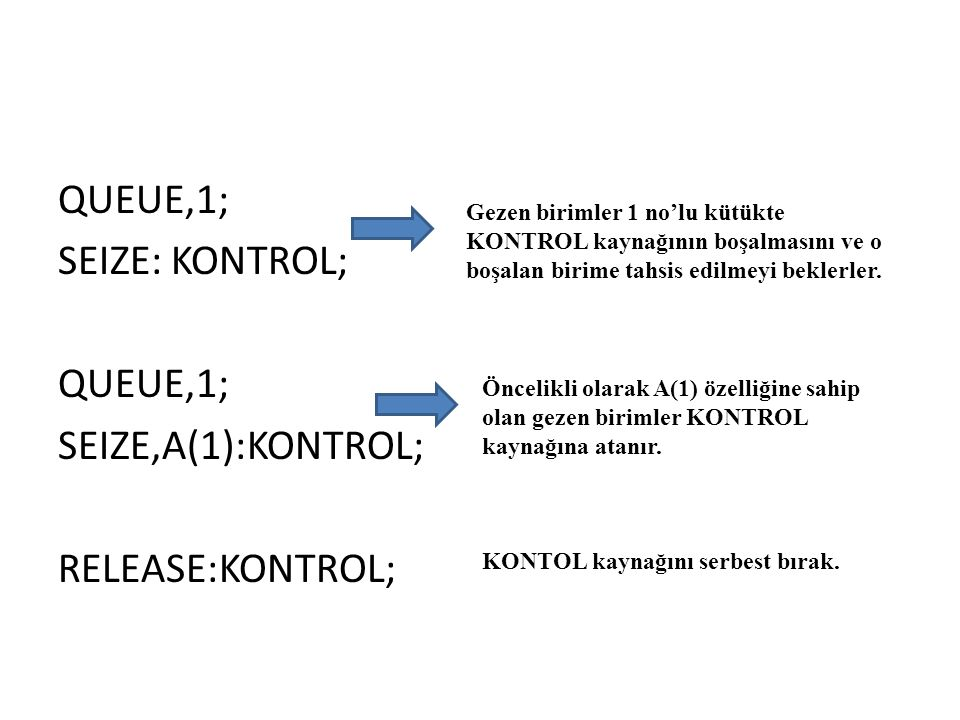 QUEUE,1; SEIZE: KONTROL; SEIZE,A(1):KONTROL; RELEASE:KONTROL;