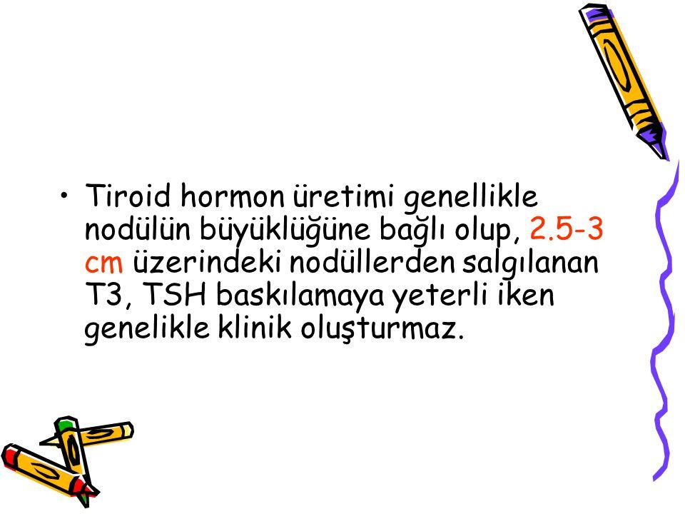 Tiroid hormon üretimi genellikle nodülün büyüklüğüne bağlı olup, 2